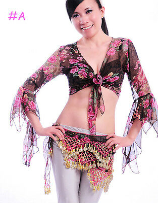 New Belly Dance Costume Bolero Flower Flared Top Blouse 3 Colors