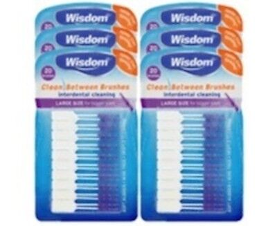 6 x Wisdom PURPLE Clean Between LARGE Rubber 20 Interdental Plaque Brushes
