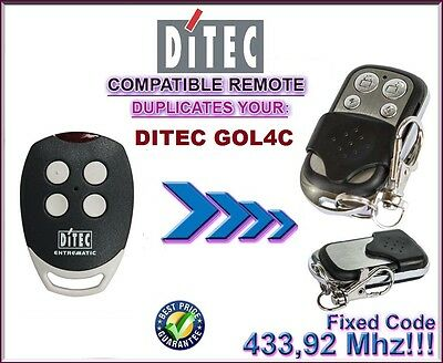 DITEC GOL4C compatible remote control transmitter, replacement, 433,92Mhz clone