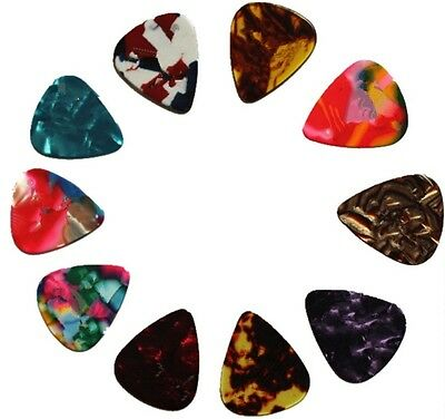 10X Celluloid Colorful Guitar Picks Plectrums For Acoustic Electric Guitar Bass