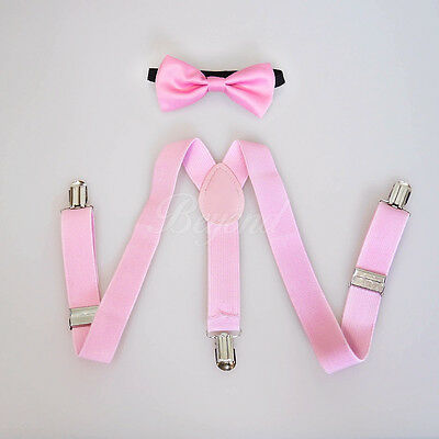 Pink Suspender and Bow Tie Set for Baby Toddler Kids Boys Girls (USA Seller)