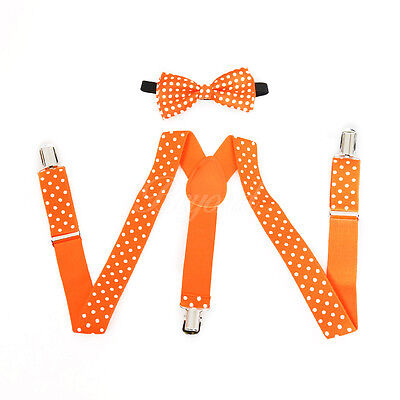 Neon Orange Polka Dots Suspender and Bow Tie Set for Baby Toddler Kids