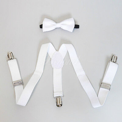 White Suspender and Bow Tie Set for Baby Toddler Kids Boys Girls (USA Seller)