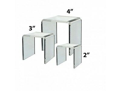Set of 3 Different Sized Clear Acrylic Square Riser Jewelry Display Stands