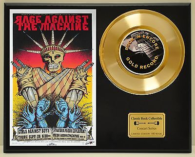 Rage Against The Machine Ltd Edition Concert Poster Series Gold 45 Display