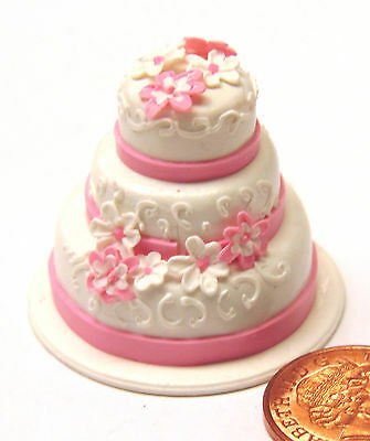 1:12 Scale Pink & White 3 Tier Wedding Cake Tumdee Dolls House Party Accessory S