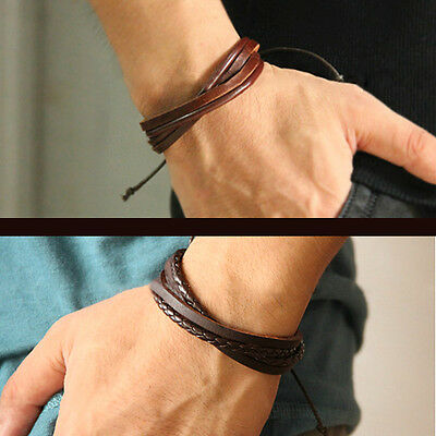 Mens Boys Handmade Leather Braided Surfer Wristband Bracelet Bangle Wrap Gift