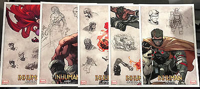Inhuman Lithograph Set 1-5 Inferno Lash Medusa Reader by Joe Madureira Marvel