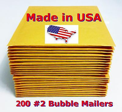 """200 #2 8.5x12 Bubble Mailers Padded Envelopes Bags 8.5"""" x 12"""" USA FREE SHIPPING"""