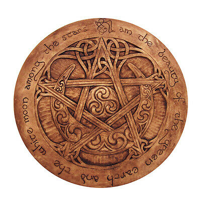 Large Moon Pentacle Plaque - Wood Finish - Dryad Designs Pagan Wicca Pentagram