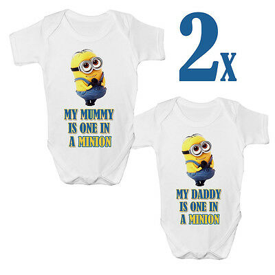 2x Cute One In A Minion Funny Baby Vest Grow Despicable Me Top Size Boys Girls