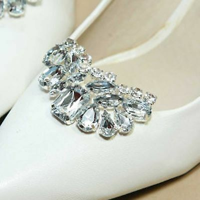 Bridal Wedding Rhinestone Crescent Silver Boots Shoe Clip Accessory Jewelry Pair