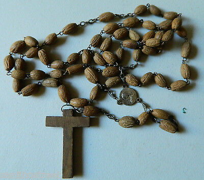 Antique Jerusalem Seed Rosary With Wood Cross