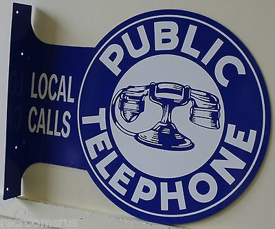 PUBLIC TELEPHONE  2 SIDED FLANGE OR PUB STYLE METAL SIGN BOOTH VINTAGE STYLE
