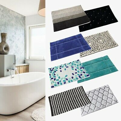 Bath Mat Cotton Luxury Large Runner Patterned Washable Anti Slip Absorbant Rug