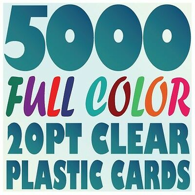5000 Full Color Custom 20pt CLEAR PLASTIC BUSINESS CARD Printing w Round Corners