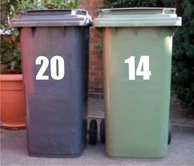 "7"" Self Adhesive Wheelie Bin Numbers, DUSTBIN VINYL STICKERS (FREE POSTAGE)"