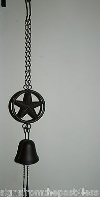 "Western Americana Cast Iron Hanging Texas Star Wind Chime Bell 24"" Long"