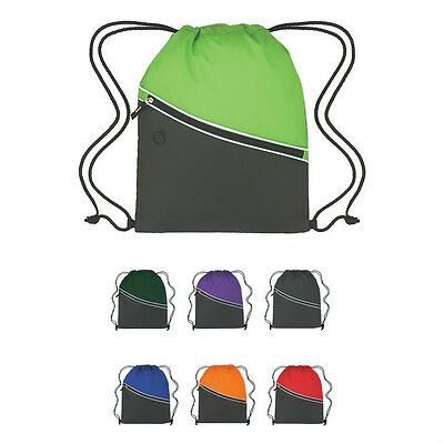 100 DRAWSTRING BACKPACKS Two Tone With Front Pocket - MORE PRODUCTS IN OUR STORE