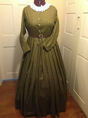Civil War Reenactment Day Dress Size 22 Green Floral Reproduction Print