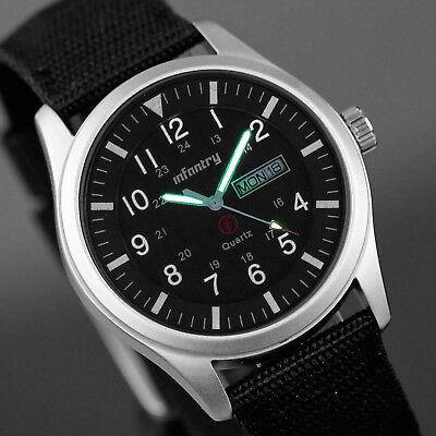 INFANTRY Mens Quartz Wrist Watch Date Day Military Sports Army Black Fabric