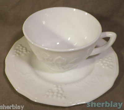 Colony Harvest Grape White Milk Glass Footed Cup & Saucer Set