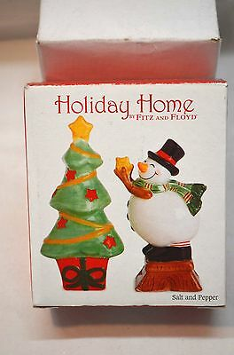 Holiday Home Fitz & Floyd Holiday Wishes Salt & Pepper- New In Box