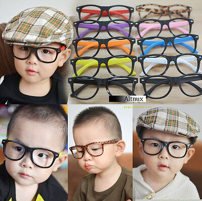 Kids Children Child Girls  Glasses Frame No Lens Vintage Trendy Nerd New