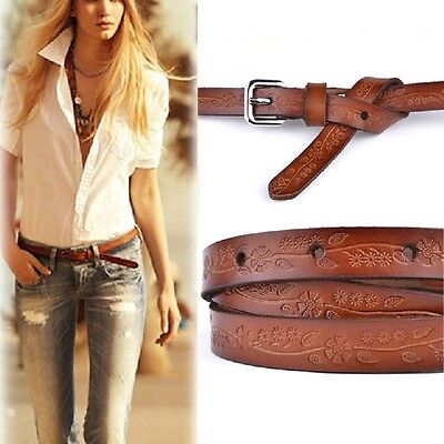 Lady Girl Cool Pretty Skinny Thin Stylish Leather Waist Buckle Belt Brown Color