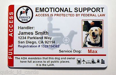 Emotional Support Service Dog Id Card For Service Animal Ada Rated Vertical 8Es