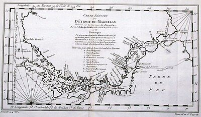 Antique map, Carte Reduite Du Detroit De Magellan