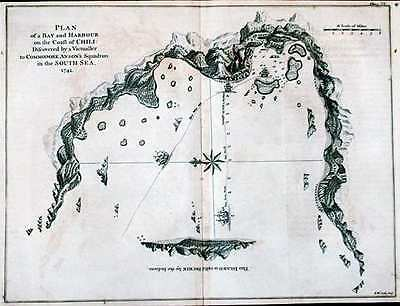 Antique map, Plan of the bay and harbour on the coast of Chili