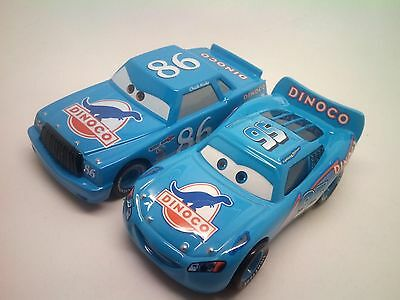Disney Pixar Cars Lot 2 Blue Dinoco Mcqueen & Dinoco Chick Hicks Diecast 1/55