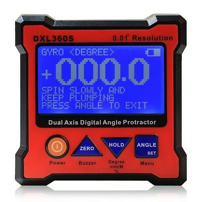 Newest DXL360S Dual Axis Digital Angel Protractor 0.01° Resolution Rechargeable