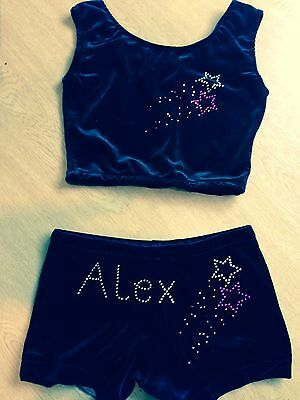 PERSONALISED/ PLAIN Black Gymnastics Dance shorts & Crop Top All sizes/Choices