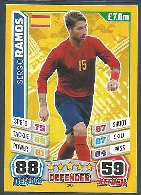 Topps Match Attax  Brazil 2014 World Cup- #206-Spain & Real Madrid-Sergio Ramos