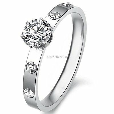 0.5 Carat Round Cut Cubic Zirconia Stainless Steel Womens Bridal Engagement Ring