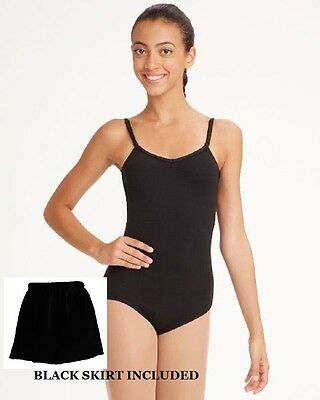 Bloch CL5407 Girl's Large (12) Black Camisole Leotard Tan Footed Tights & Skirt