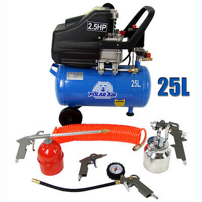 Polar Air Compressor 25L 2.5HP / 50L 5HP Direct Drive 5 Pc Accessories Tools Kit