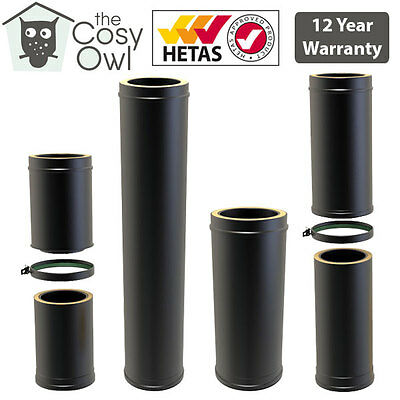 Convesa Black Twin Wall Insulated Flue Pipe Straight & Adjustable Lengths