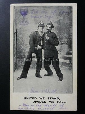 Military & Drunk Theme: UNITED WE STAND, DIVIDED WE FALL c1905 Old Postcard