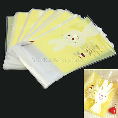 100pcs Self Adhesive Yellow Rabbit Bunny Cookie Candies Biscuit Bags Lovely