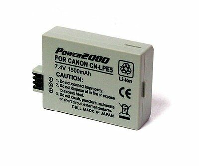 Power2000 LP-E5 LPE5 Rechargeable Battery for Canon XS, XSi, T1i SLR Camera