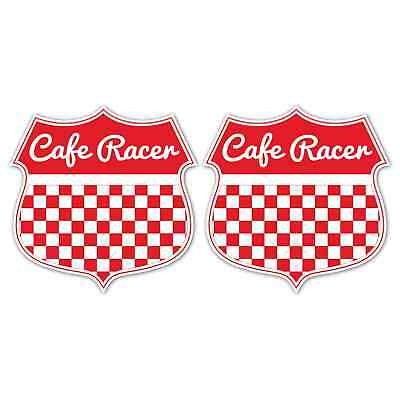 CAFE RACER 60mm Laminated Stickers Red Chequered Flag Motorbike Race Decals