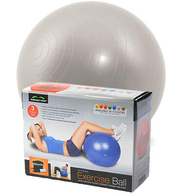 65CM SILVER GYM BALL EXERCISE Anti-Burst YOGA FITNESS AEROBIC GYMBALL CORE