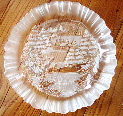 "9"" MIKASA, CLEAR/FROSTED GLASS,  ""WINTER DREAMS"" BON BON / CANDY HOLIDAY PLATE"