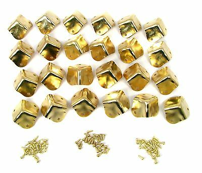 24pc Square Brass Box/Cabinet Corners - Great accents for your Project! 32-39-02
