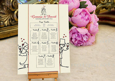 Personalised Character Wedding Table Seating Plan Planner - Option 2