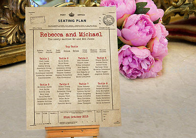 Personalised Telegram Shabby Chic Style Wedding Table Seating Plan Planner