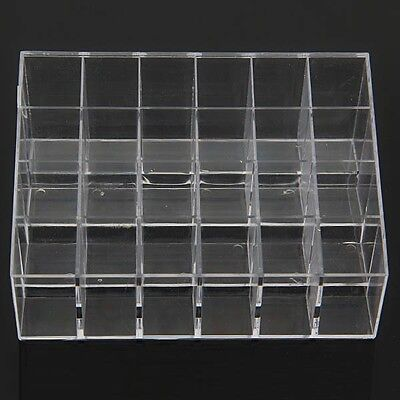 Clear 24 Squared Makeup Lipstick Acrylic Cosmetic Storage Rack Display Holder